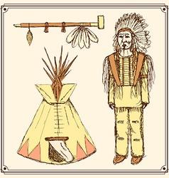 Sketch native american set in vintage style vector image vector image