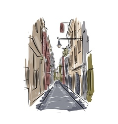 Sketch of old spanish street for your design vector image