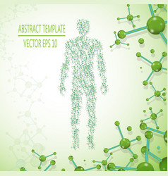 Abstract molecule based human figure concept vector