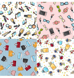 big set of fashion objects seamless pattern vector image vector image