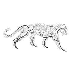 Big wild cat stylized by bushes for use as logos vector