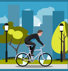 businessman riding on the bike and hurrying to vector image vector image