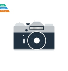 Flat design icon of retro photo camera vector image vector image