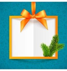 Orange squared frame with ribbon bow and vector image