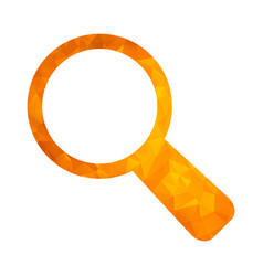 polygon golden icon magnifier vector image