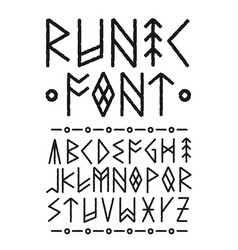 runic hand drawn font ink brush vector image vector image