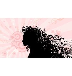 Silhouette of Woman head with Music Hair Stock vector image