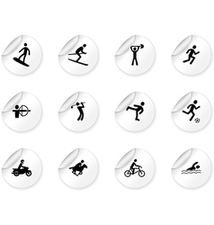 Stickers with games and sport icons vector image