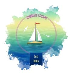 Yacht Sea Landscape Watercolor vector image vector image