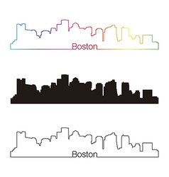 Boston skyline linear style with rainbow vector image