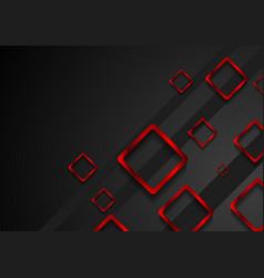 Bright red metal squares on black background vector image vector image