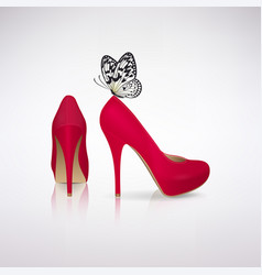 red high-heeled shoes with butterfly vector image vector image