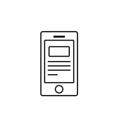 line smartphone with business digital document vector image