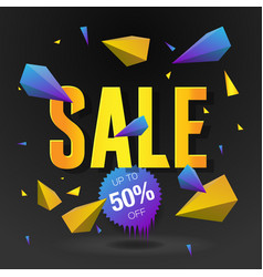 sale 50 off poster with abstract triangle vector image vector image