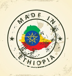 Stamp with map flag of Ethiopia vector image