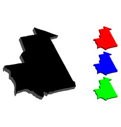 3d map of mauritania vector image