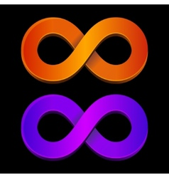 Abstract infinity orange and blue sign vector