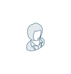 avatar businesswoman isometric icon 3d line art vector image