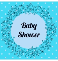Baby shower with round floral banner blue vector image