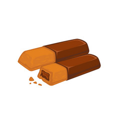 Bars of chocolate with biscuit inside stuffed with vector
