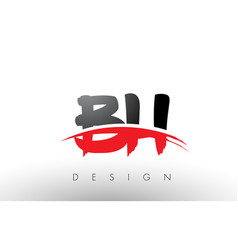 bh b h brush logo letters with red and black vector image