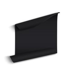 Black curved paper banner vector