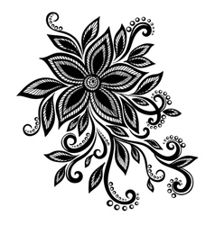 Black white flower lace eyelets design element vector