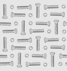 bolt and nuts hand draw sketch seamless pattern vector image