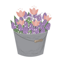 Bouquet of spring doodle hyacinths and tulip vector