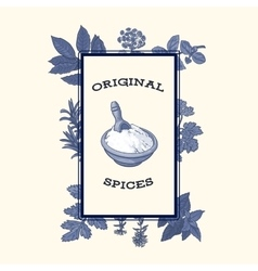 Bowl of flour framed by spices and herbs poster vector image