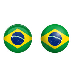 brazilian flag under 3d dome button and on glossy vector image