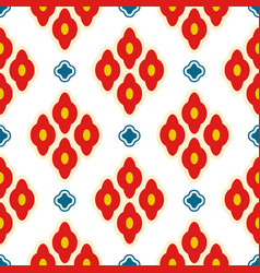bright red ottoman rhombuses repeat pattern vector image