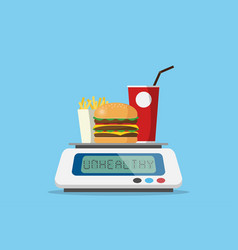 Burger with drinks french fries on weight scale vector