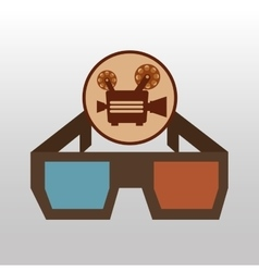 camera movie vintage glasses icon design vector image