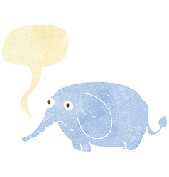cartoon sad little elephant with speech bubble vector image