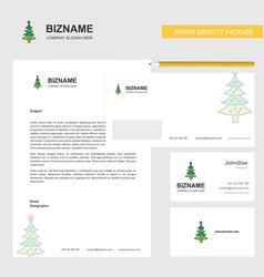 Christmas calendar business letterhead envelope vector