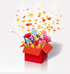 Christmas sweet gift box explosion of paper vector
