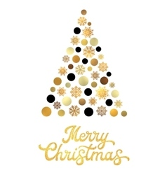 Christmas tree with gold texture glitter lettering vector image