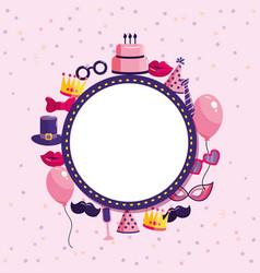 Circle emblem with happy birthday celebration vector