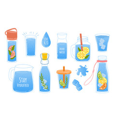 Clean water doodle glass and bottle with aqua vector