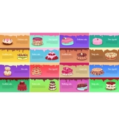 Collection of Chocolate Cakes Greeting Cards vector