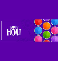 Colorful holi powder plates on purple background vector