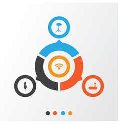 Computer icons set collection of wireless aux vector