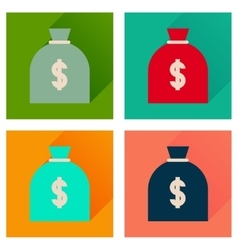 Concept flat icons with long shadow money bag vector