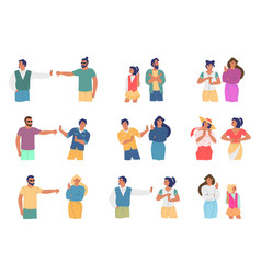 conflict people cartoon character set flat vector image