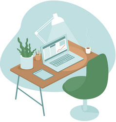 Cozy and comfortable workplace with laptop vector