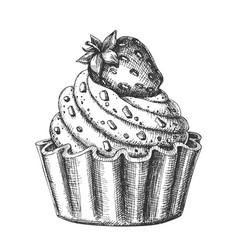 Creamy delicious cake sweet dessert ink vector