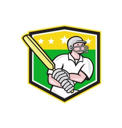 Cricket Player Batsman Batting Shield Star vector