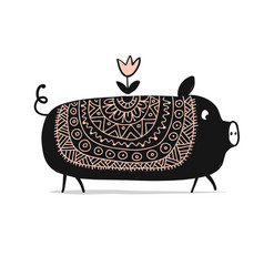 Cute piggy ornate silhouette symbol of 2019 year vector