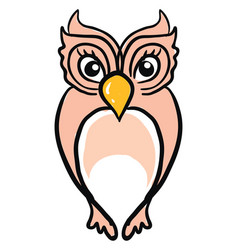 cute pink owl on white background vector image